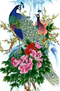 китайские принты с птицами