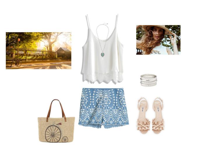 плетенная сумка и шорты