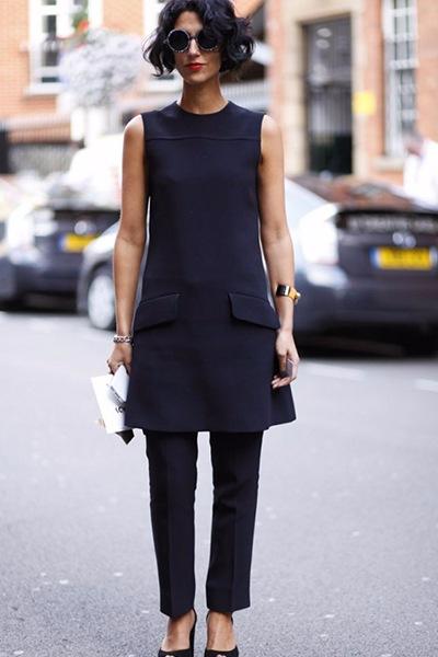 однотонный комплект платья с брюками