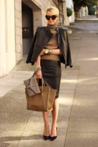 кожаная куртка элегантные образы