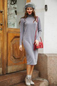 трикотажное платье для осени