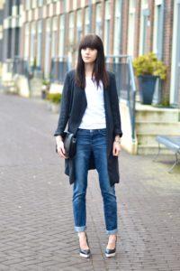 кардиган с джинсами
