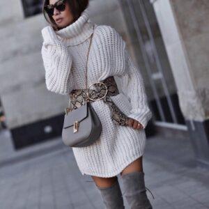 платье-свитер на зиму